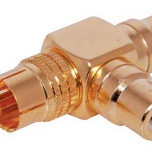 P0357 • RCA Male To 2 RCA Female Right Angle Adapter